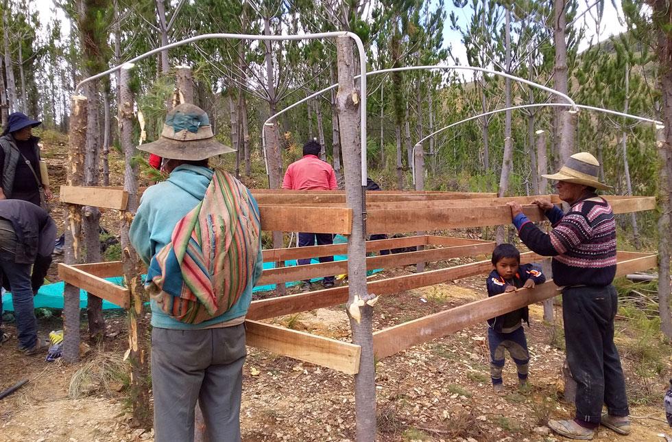 Bolivien: Männer hantieren mit Bauteilen für ein Gestell im Wald