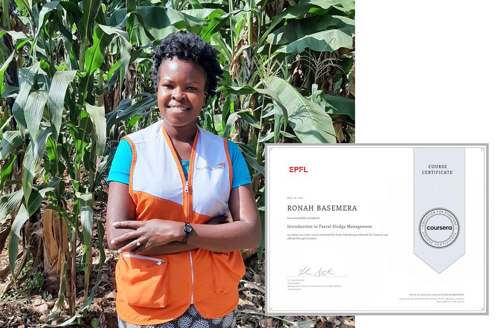 Eine WASH-Exptertin mit ihrem Zertifikat.