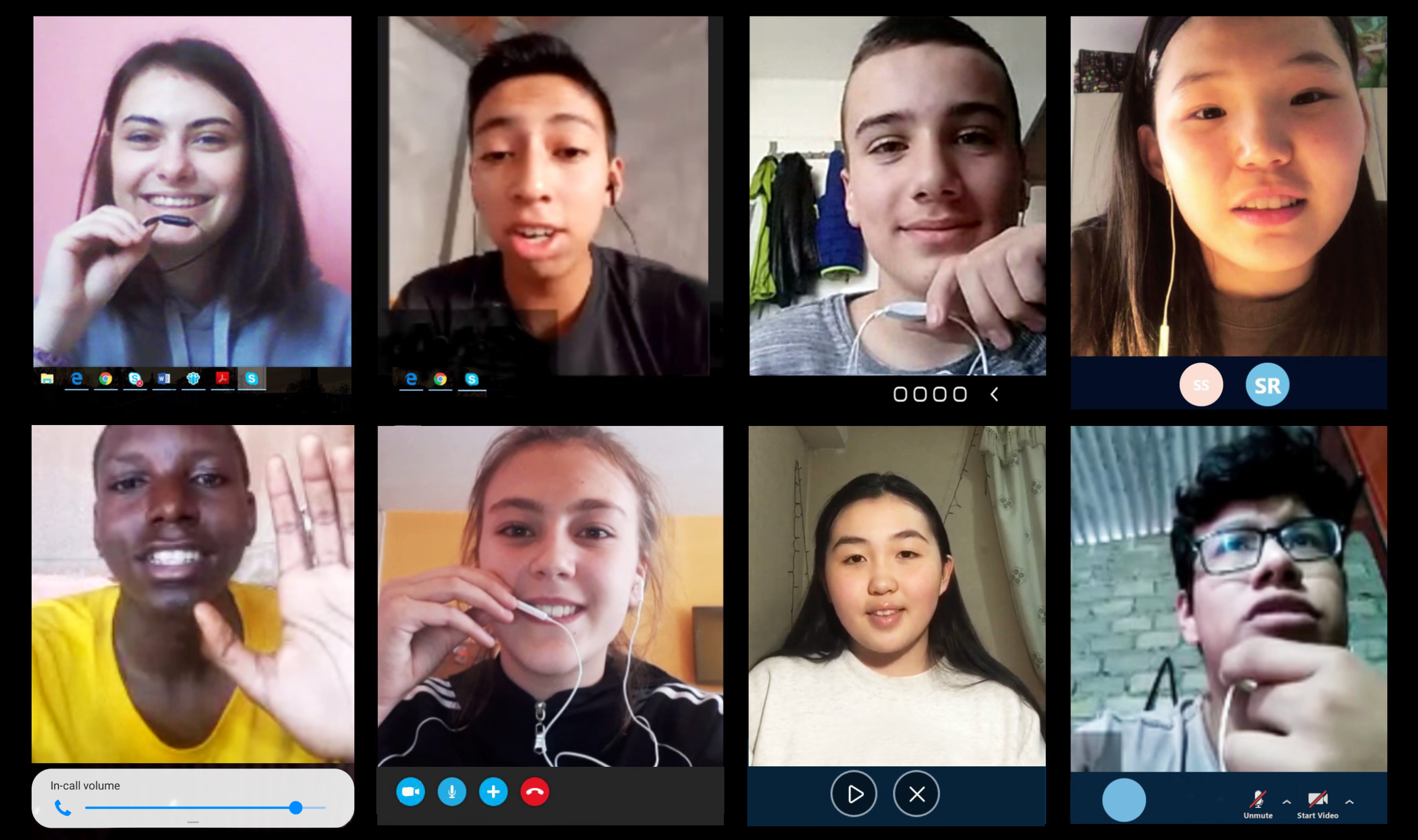 Screenshot of a group of children participating in an online video call.